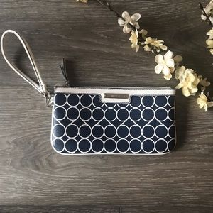 Nine West wristlet purse navy blue white EUC